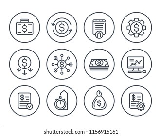 finance, investments, financial management line icons on white