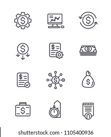 finance, investments, financial and money management, costs optimization line icons set on white