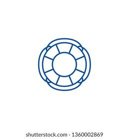 Finance lifebuoy line icon concept. Finance lifebuoy flat  vector symbol, sign, outline illustration.