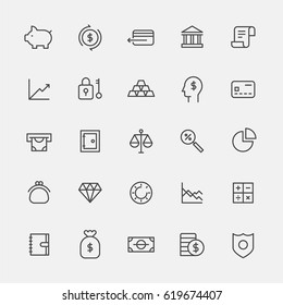 finance lin icons vector illustration flat design
