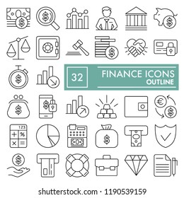 Finance line icon set, money symbols collection, vector sketches, logo illustrations, underwater signs linear pictograms package isolated on white background, eps 10