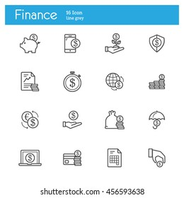 Finance line icons. Circulation coins in the world