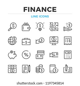 Finance line icons set. Modern outline elements, graphic design concepts, simple symbols collection. Vector line icons