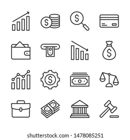 Finance line icons set vector illustration. Contains such icon as bank, credit card, money, wallet and more. Editable stroke