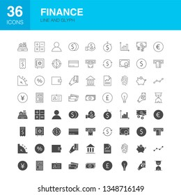 Finance Line Web Glyph Icons. Vector Illustration of Money Outline and Solid Symbols.