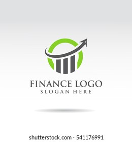 Finance Logo  template. Green and black color. arrow and statistic concept. Vector illustrator eps.10
