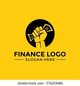 Finance Logo template. Hold Money. Vector Illustrator Eps.10