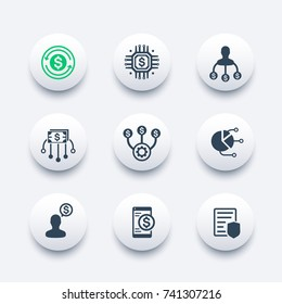 finance management, financial instruments icons set