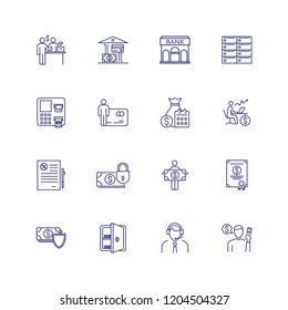 Finance management line icon set. Financier, credit card, payment. Finance concept. Can be used for topics like money, saving, banking