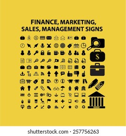 finance, management, sales, marketing, bank isolated icons, signs, illustrations concept design set on background for website, internet, template, application, advertising.