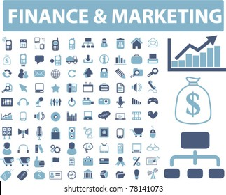 finance & marketing icons, signs, vector