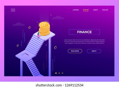 Finance - modern isometric vector landing page template on purple background with copy space for text. A website header with businessman, manager rolling coins up the staircase, reaching the top