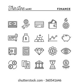 Finance, money, banking, business and more, thin line icons set, vector illustration
