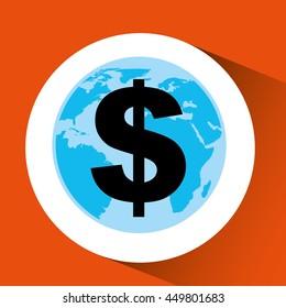 finance money economy dollar business isolated, vector illustration
