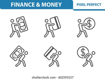 Finance & Money Icons. Professional, pixel perfect icons optimized for both large and small resolutions. EPS 8 format. 3x size for preview.
