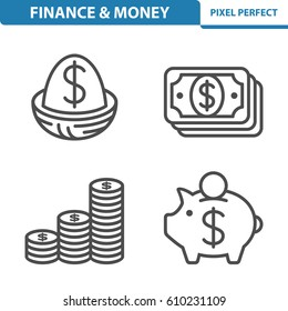 Finance & Money Icons. Professional, pixel perfect icons optimized for both large and small resolutions. EPS 8 format. 5x size for preview.