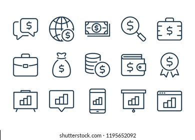 Finance and money line icons. vector linear icon set.