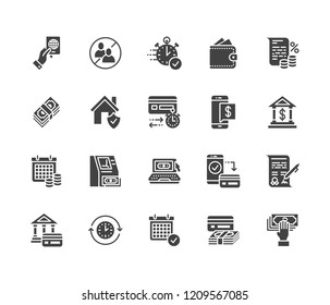 Finance, money loan flat glyph icons set. Quick credit approval, currency transaction, no commission, cash deposit atm vector illustrations. Signs for banking. Solid silhouette pixel perfect 64x64.