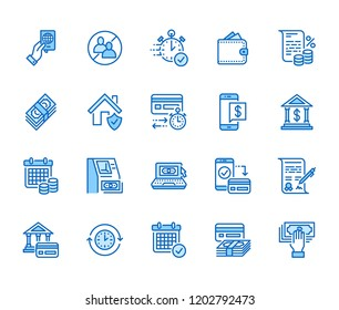 Finance, money loan flat line icons set. Quick credit approval, currency transaction, no commission, cash deposit atm vector illustrations. Thin signs for banking. Pixel perfect 64x64 Editable Strokes