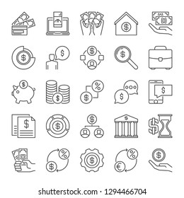 Finance and Money outline vector concept icons set
