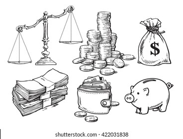 Finance, money set. Scales, stack of coins sack of dollars paper money wallet piggy bank Sketch Hand drawn collection isolated on white background. Vector illustration  design for banks, pawn shops.