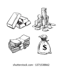 Finance, money set. Sketch of gold bars, stack of coins, paper money, sack of dollars . Black and white hand drawn vector illustration.