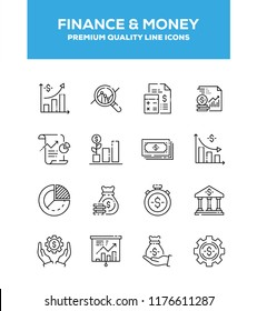 Finance And Money vector line icons set. Line graphic design for web design, mobile app, infographics. Pixel perfect vector outline icons set.