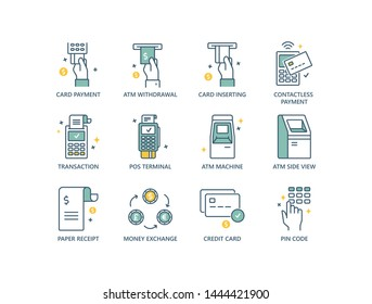 Finance related  line icons with card inserting, money withdrawal, contactless payment, successful transaction, ATM machine, receipt, money exchange, PIN code.