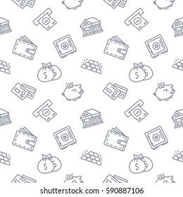 Finance seamless pattern background trendy white