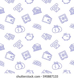 Finance seamless pattern background trendy white