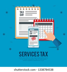finance service tax with smartphone and calendar