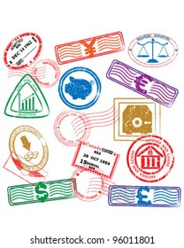 Finance Stamps Icon Collection         vector eps10