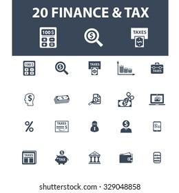 finance, tax, bank, accounting icons