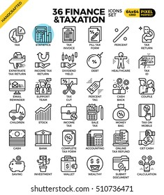 Finance and taxation, business concept, outline icons concept in modern style for web or print illustration