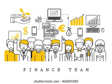 Finance Team-On White Background-Vector Illustration, Graphic Design.Business Content For Web,Websites,Magazine Page,Print,Presentation Templates And Promotional Materials.Businesspeople Thin Line