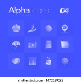 Finance theme spot illustrations for branding, web design, presentation, logo, banners. Clean gradient icons set with thin lines and flat shapes. Pure transparency effect on blue color background.