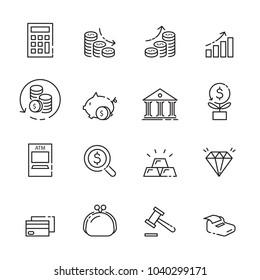 finance thin line icon set 3, vector eps10.