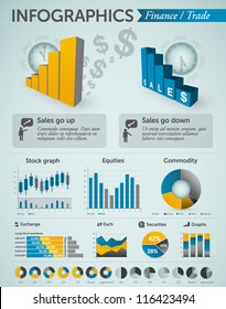 Finance and Trade infographics - charts, graphs, symbols, info charts & other business design elements