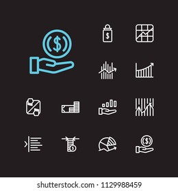Finance trading icons set. Invest money and finance trading icons with limit order, trading volume and dividend. Set of sale for web app logo UI design.
