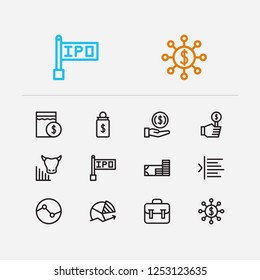 Finance trading icons set. Invest money and finance trading icons with bull market, bid and chart. Set of pension for web app logo UI design.