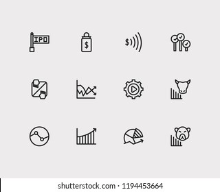 Finance trading icons set. Stock sector and finance trading icons with volatility, rally and bid-ask spread. Set of salary for web app logo UI design.