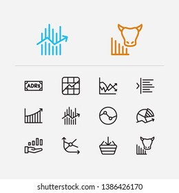 Finance trading icons set. Stock symbol and finance trading icons with stock sector, rally and chart. Set of sale for web app logo UI design.