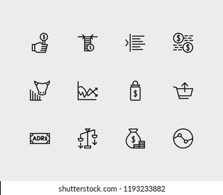 Finance trading icons set. Yield and finance trading icons with dividend, bull market and bid. Set of salary for web app logo UI design.