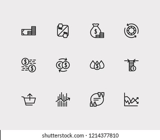 Finance trading icons set. Yield and finance trading icons with quote, liquidity and sell. Set of transaction for web app logo UI design.