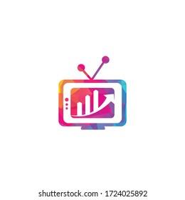 Finance TV Logo Design Template. Tv chart logo Design Vector illustration. Graph and tv logo combination.