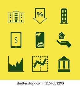 finance vector icons set. with gift card, office building, graph and bank in set