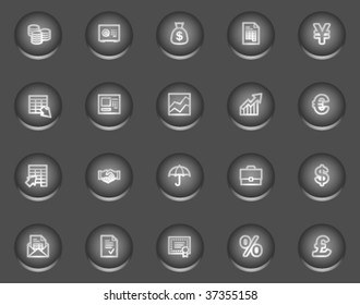 Finance web icons, metal circle buttons series