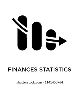 Finances statistics descending bars graphic icon vector isolated on white background for your web and mobile app design, Finances statistics descending bars graphic logo concept