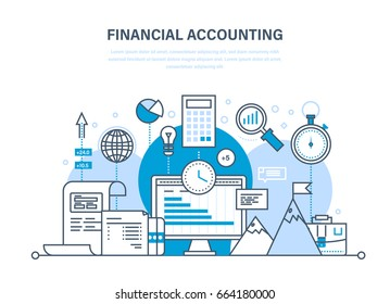 Financial accounting, analysis, market research, deposits, contributions and savings, statistics, accounting, time management. Illustration thin line design of vector doodles