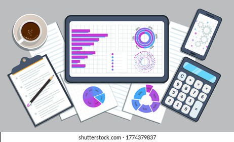 Financial accounting audit concept. Business finance and investment, planning. Tax return. Accounting with calculator and financial data report.